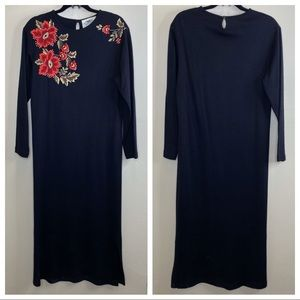 Vintage Susan Bristol Black & red rose maxi dress